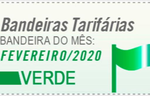 Bandeira tarifária será verde em fevereiro