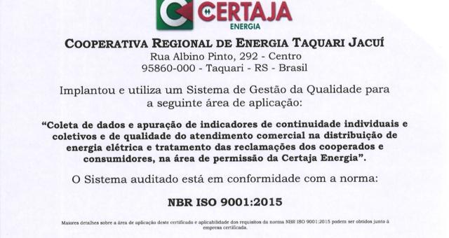 CERTAJA Energia recebe certificado ISO